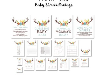 Country Rustic Floral Deer Antlers Baby Shower Package - Games, Favors, Cards, and Tags - Instant Download Printable - Gender Neutral