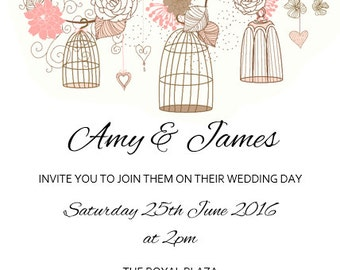 Pink birds and flowers downloadable and editable wedding invitation set