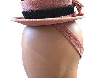 REDUCED 1940s Pink and Black Toy Tilt Hat Valerie Modes