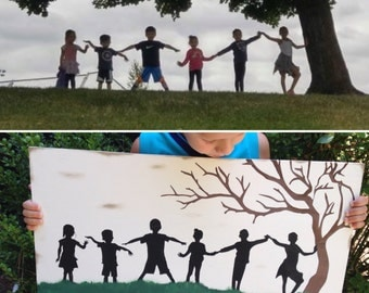 Custom family silhouette on wood, family portrait holding hands, photo to painting, personalized painted silhouette, custom family wall art