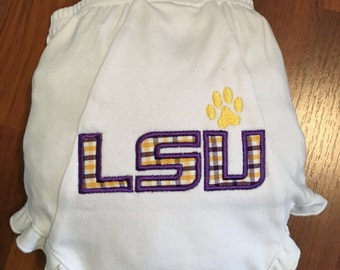 LSU Tigers Applique Diaper Cover/Bloomers -Baby Girl- Shower Gift