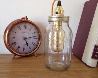 jar lamp kilner edison bulb twisted fabric cable