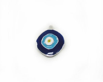 Evil Eye Pendant, Blue Evil Eye Pendant, Protection Charm, Good Luck Pendant, Metal Pendant, Jewelry Making, DIY Pendant