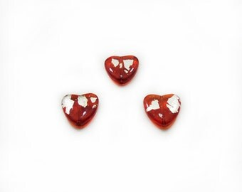 Orange Heart Beads, Heart Glass Beads, Gold Heart Beads, 20 mm Gold Heart Beads, 3 pcs Orange Heart Beads, Glass Beads, Jewelry Making