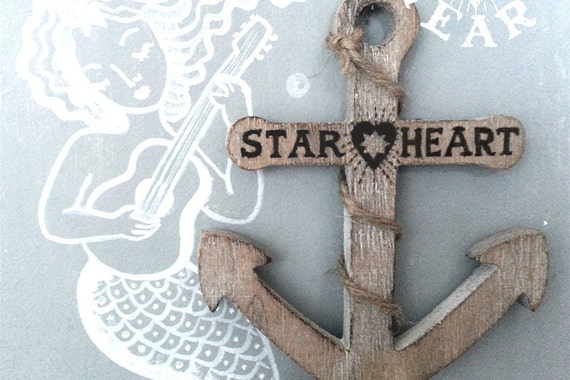 Rustic Wooden Anchor With Jute String Nautical Hanging Keepsake - Personalise With Your Name/Date