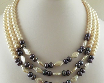 Multicolored Freshwater Pearl Triple Strand Necklace with Sterling Silver Clasp