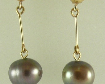 Freshwater 8.1mm x8.9mm Pearl Earrings 14k Yellow Gold Post and Push Back
