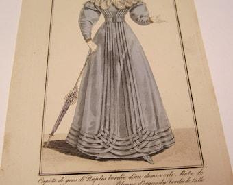 costumes parisien antique fashion engraving 1824 #2256