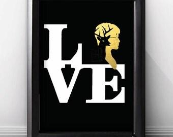 Gold Foil Print Harry Potter Wall Art Print, Harry Potter Wedding Gift, Harry Potter Movie Lover, Harry Potter Book Lover Gift, Poster.