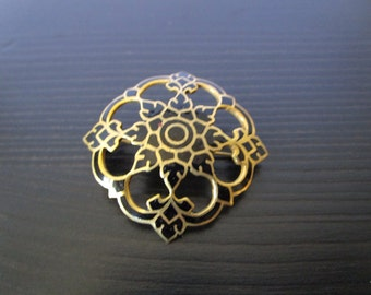Vintage Brass colored Brooch with Black Enamel