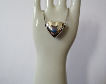 "Sterling Silver Puffy Heart Pendant on 16"" Chain"