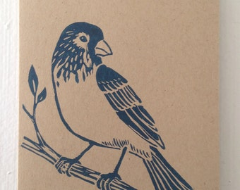 Bird handmade block printed card (small)