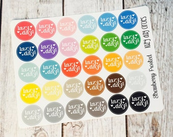 Lazy Day Circle Planner Stickers - Made to fit Vertical or Horizontal Layout