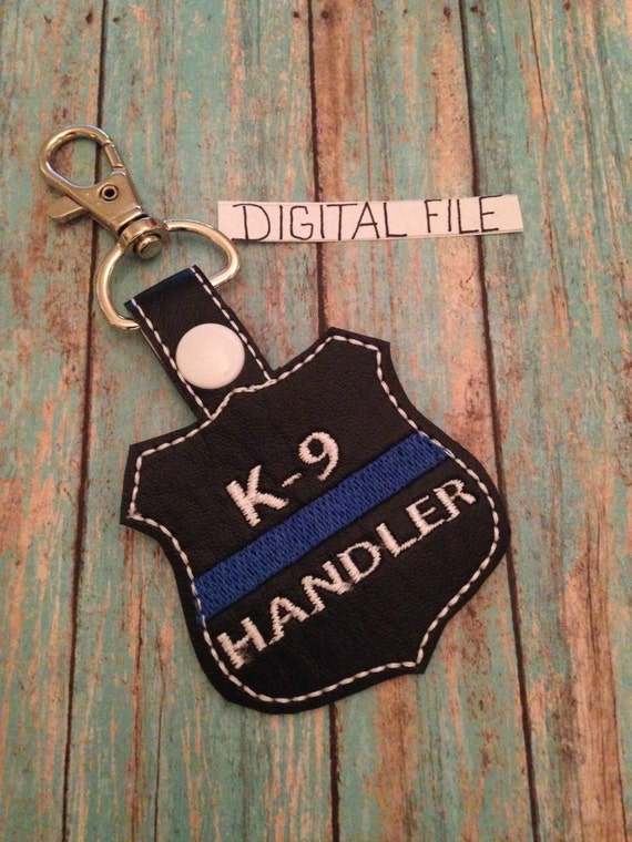 K-9 Handler Thin Blue Line Key Fob DIGITAL DESIGN. Embroidery Design - In The Hoop - Cop - Law Enforcement. Key Chain