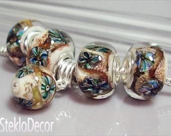 Glass Beads Lampwork Fits Pandora Trollbeads Biagi Chamilia Big Hole Beads European Charms Euro Charm Bead Handmade Bead lampwork