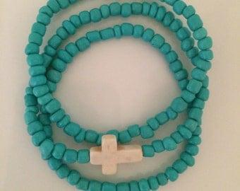 Turquoise with Cross beaded bracelet Set