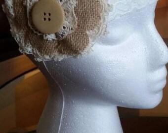 Cream & Tan burlap flower lace headband