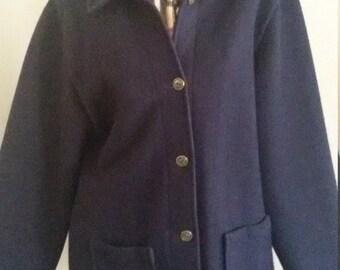 Pure New Zealand Wool Swanndri Navy Blue winter Soft Fleece Jacket Coat  S Made in New Zealand