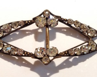 Czech Brass and Rhinestone Buckle Flapper Unique Vintage