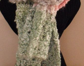 Crochet Pink/Green Scarf, Women's Scarf, Scarf, Winter Scarf