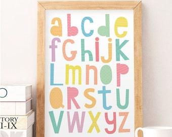Alphabet wall art, Alphabet wall decor, Kids wall decor, Baby room art, Nursery wall decor, Cute art print, Art for kids, Colorful print