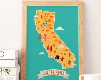 California print, Nursery print, Nursery wall decor, Kids room art, California wall decor, Kids room prints, Baby room decor, Kids decor