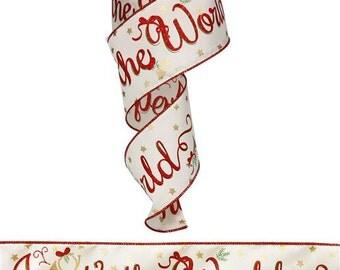 WIRED RIBBON - Ribbon - Cream Ribbon - Red Ribbon - Wreath - Floral Ribbon -  RG0140745