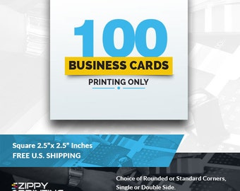 "100 Square Business Cards 2.5"",Business Cards Printing Rounded Corners, Matte or Glossy"