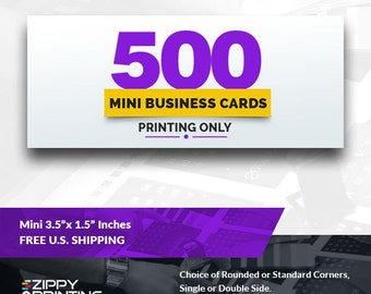 "500 Mini Business Cards 3.5"" x 1.5"" , Mini Business Cards Printing Rounded Corners, Matte or Glossy"