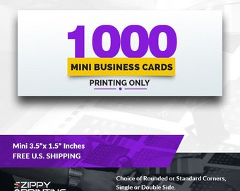 "1000 Mini Business Cards 3.5"" x 1.5"" , Mini Business Cards Printing Rounded Corners, Matte or Glossy"