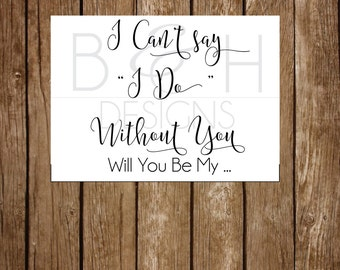Printable Instant Download Will You Be My Bridesmaid & Maid of Honor Invite Notecard, Rustic, Simple (Instant Download)