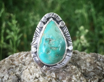 Turquoise Ring, Size 11, Sterling Silver, Rustic, Earthy, Boho, Gypsy, Hippie
