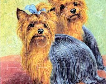 Adorable YORKSHIRE Terrier DOGS. Couple Of YORKIE Dogs. Vintage Doggie  Illustration. Digital Dogs Download. Yorkie Digital.