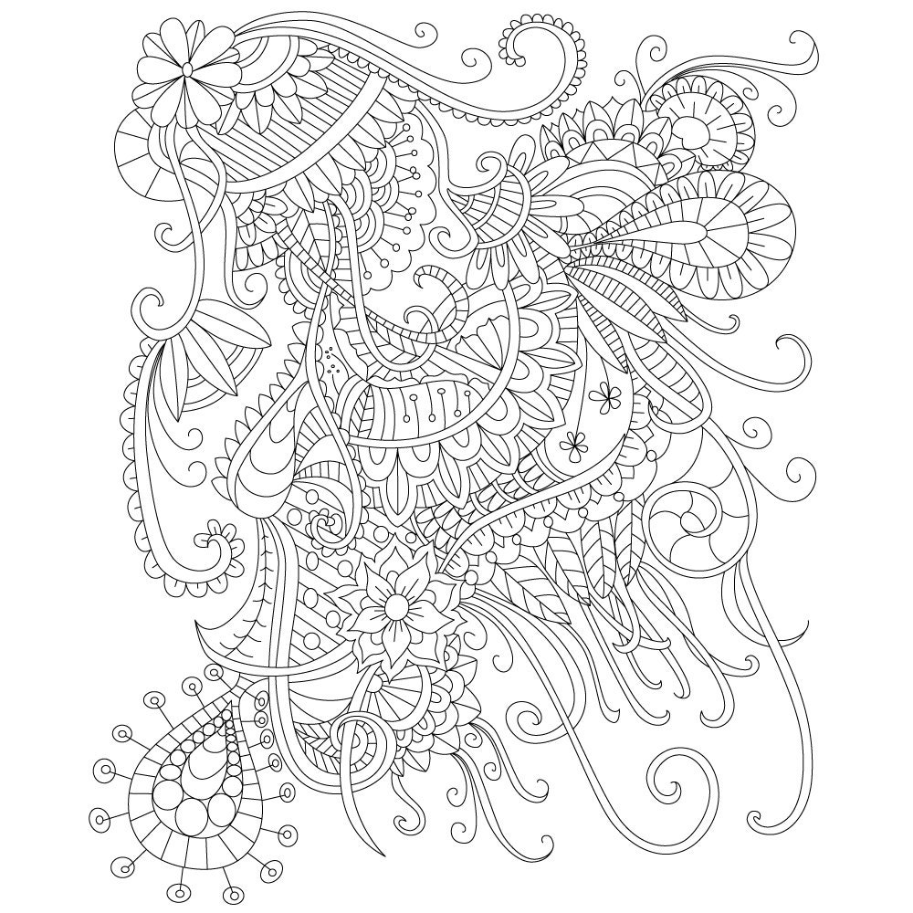 Coloring Pages For Adults: Adult Coloring Page Of Abstract Doodle Drawing For Stress