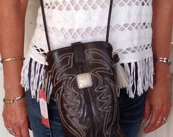 One of a kind, handmade leather cowboy boot bag, purse.