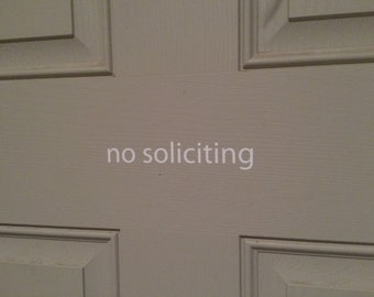 No Soliciting Decal - Front Door Decal