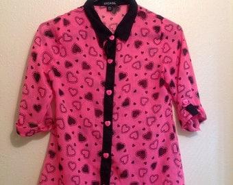 Valentine Sheer Heart Print Button Up Shirt