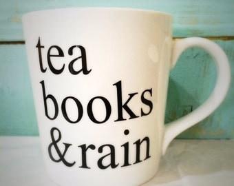 16oz Tea, Books & Rain Mug