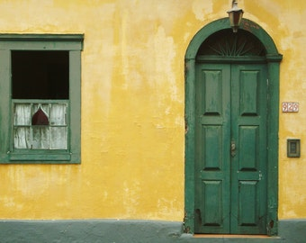 "Facade of a colonial style house Brazil, Color Photography, ""Brotas 1"", Photographic Matte Paper, Windows and Doors, Architecture, Brazil."