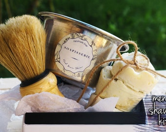 Men's Shave Kit- 3 Men's Shave Soaps- Shaving Bowl- Wooden Shaving Brush- Facial Soaps- Men's Gift Set