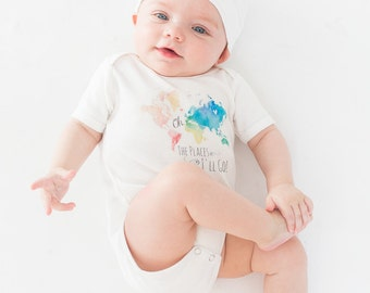 Baby Bodysuit, Baby Gift Set, Oh the Places!, baby clothing set, infant clothes, maxandmaekids, max and mae