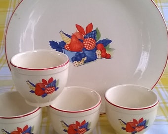 Calico Fruit Dessert Cups and Serving Platter Universal Cambridge Oven Proof