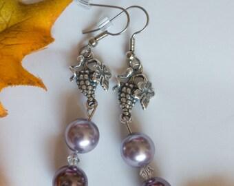 Grapes - purple dangle earrings