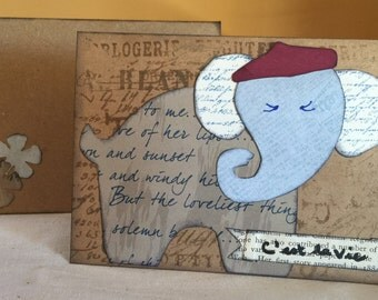 "Adorable Handmade ""C'est la Vie"" Elephant Card"
