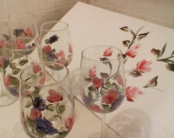 6 Hand painted red wine glasses and matching gift box