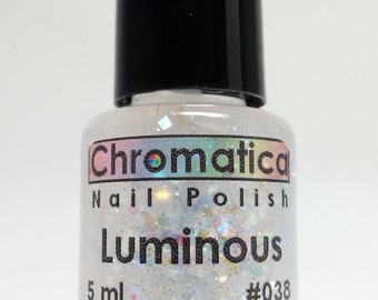 Luminous-Handmade Iridescent Glitter Topper/Overlay, Indie Nail Polish, 5ml Mini Bottle