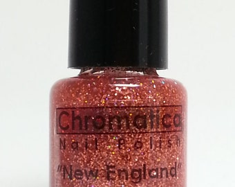 New England-Handmade Holographic Copper-Red Glitter Topper/Overlay, Indie Nail Polish, 5ml Mini Bottle