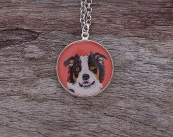 Hand Painted Border Collie Pendant