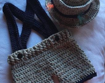 Baby Fishing Suspender Shorts & Hat Set