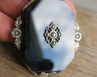 Edwardian Sterling Onyx Pendant
